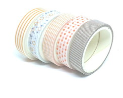 Kit Washi Tapes - Geométrica e Poá (5 Unidades)