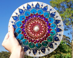 Mandala vitral decorativa 25cm