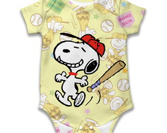 Body de bebê estampa Snoopy Baseball