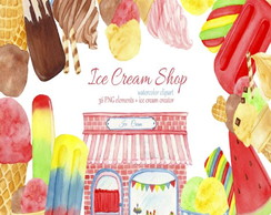 Kit Digital aquarela Ice Cream Shop