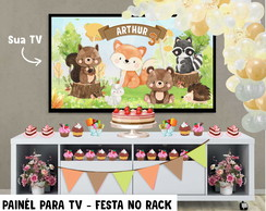 Painel de Festa p TV Bosque Animais - Festa no Rack-DIGITAL