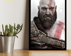 QUADRO DECORATIVO KRATOS JOGO GOD OF WAR PLAYSTATION