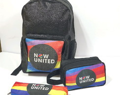 Kit now united com mochila glitter + necessaire + estojo