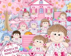Kit Scrapbook Digital boneca de Pano Rosa