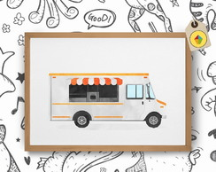 Quadro Decorativo Food Truck Aquarela
