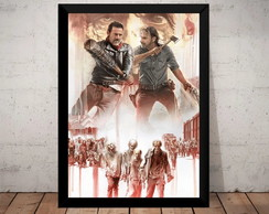 Poster Moldura The Walking Dead Rick Vs Negan Quadro Zumbi