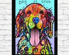 Quadro Golden Retriever Cachorro Pet Moldura 01