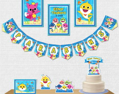 Kit Festa Papelaria Baby Shark