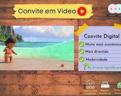 CONVITE DIGITAL VIDEO TEMA MOANA BABY + TAG DE BRINDE