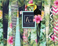 Kit Papel digital - Folhas tropicais #D70