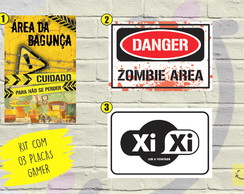 KIT 03 PLACAS DECORATIVAS PARA QUARTO GAMER