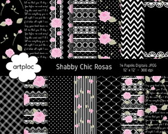 Papel Digital Shabby Chic Preto