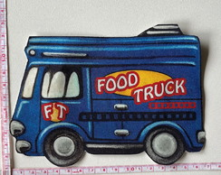 Patch aplique termocolante Food Truck Azul Grande