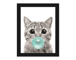 Quadro Decorativo Sala Gato Pet Bola de Chiclete Moldura