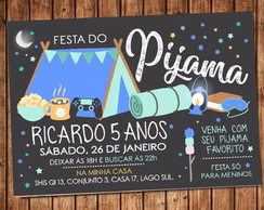 Convite Festa do Pijama Digital Menino Video Game