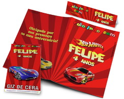 Kit Colorir Revistinha e Giz de Cera Hotwheels