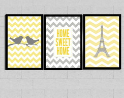 Kit 3 Quadros Decorativos Home Paris Pardais Chevron KT3A4AP
