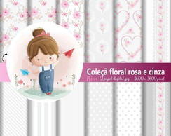 Kit Digital - Floral Rosa e Cinza