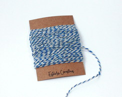 Barbante Twine Cotton - 1mm - Azul e Branco (10metros)