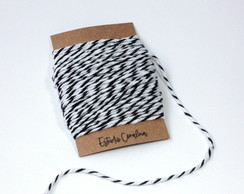Barbante Twine Cotton - 2mm - Preto e Branco (10metros)