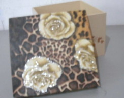 Caixa Rosas Animal Print