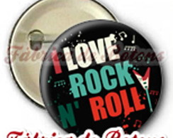 BOTON 2,5cm I LOVE ROCK N' ROLL