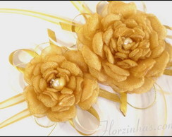 Head Band Com Rosas Douradas