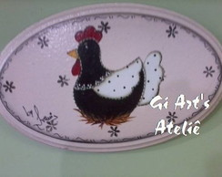 Placa Oval Galinha
