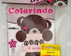 Kit de colorir Ursa marrom e rosa