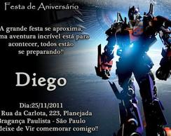 Convite Aniversário Transformers Elo7