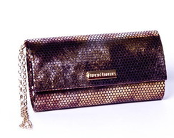 Clutch de festa bronze mini brilho
