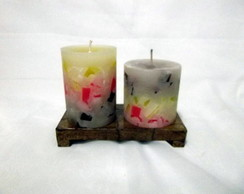 2 Velas Decoradas Com Base De Madeira 3