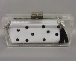 Clutch acrílica black and white