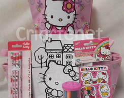 Bolsa bujão Hello Kitty com kit escolar