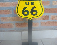 Carros - Placa Route 66 - mdf