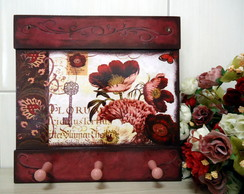 Porta Chaves Mod2 Floral Burgundy