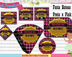 Kit festa digital boteco Preto e Pink