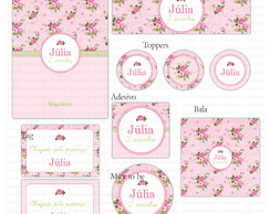 Kit digital Floral Shabby Chic - Rosa