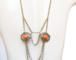 Colar de costas Back Necklace Vintage Fr