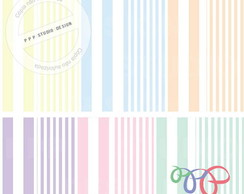 Kit Papel Digital - Pastel Listrado