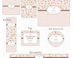 Kit digital - Floral marrom e rosa