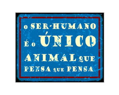 Placa MDF Retrô Animal que Pensa - 520