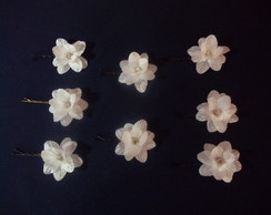 Mini Flores Branca com strass- Kit Com 8