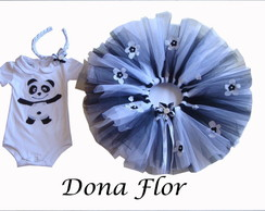 Conjunto tutu, saia e body do panda