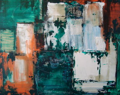 Painel  abstrato verde 243