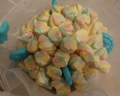 Buquê de marshmallows azul royal