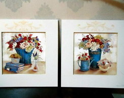 Mod8. Kit 2 Quadros BlueFlowers