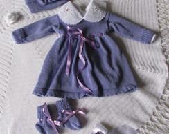 Vestido de lã Para Bebê RN com body no Elo7  04dd4108f9a