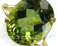Anel ouro 18 KL Peridoto natural Limpo