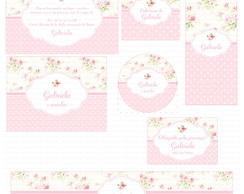 Kit digital floral branco e rosa